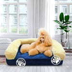 Load image into Gallery viewer, orthopedic memory foamorthopedic memory foam dog bed blue, gold with dog in luxury home