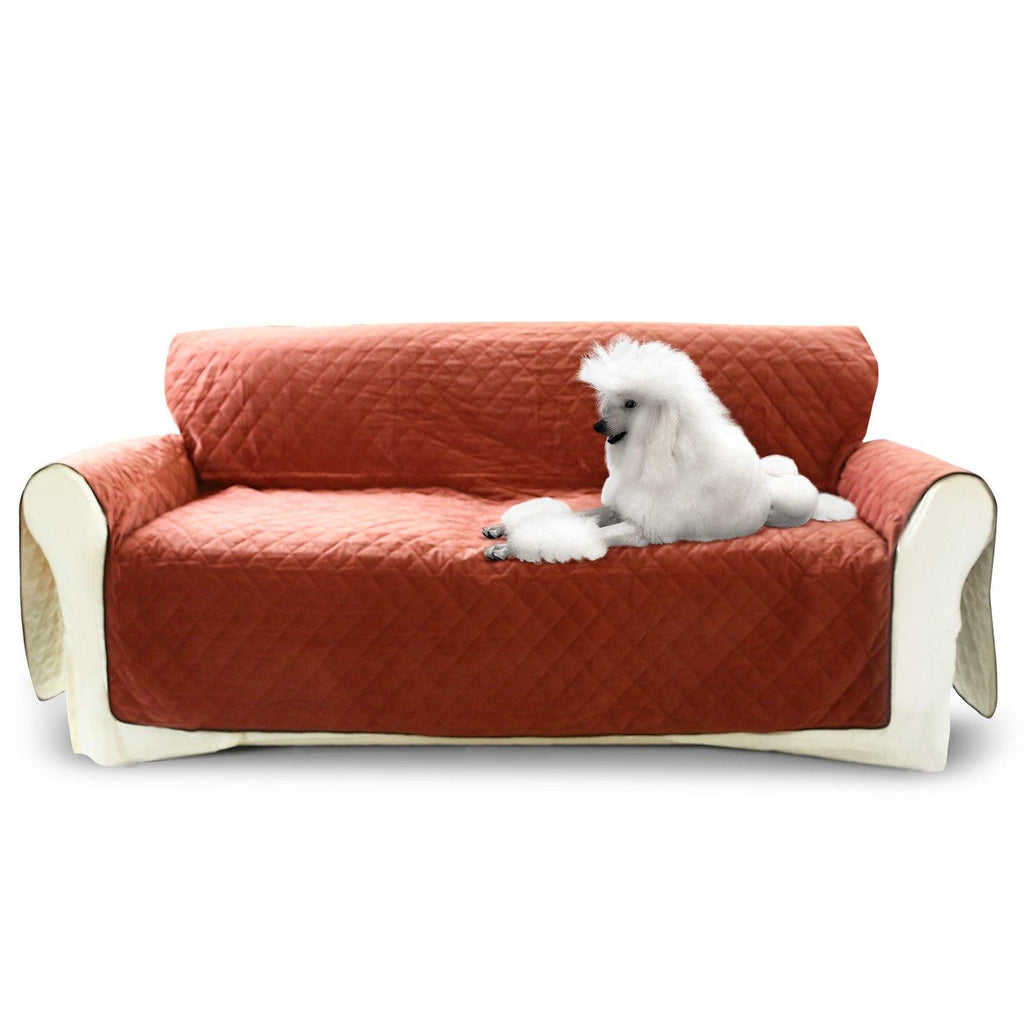 Luxury Sofa Cover for Dogs Cats 3 Seater Couch - Wine