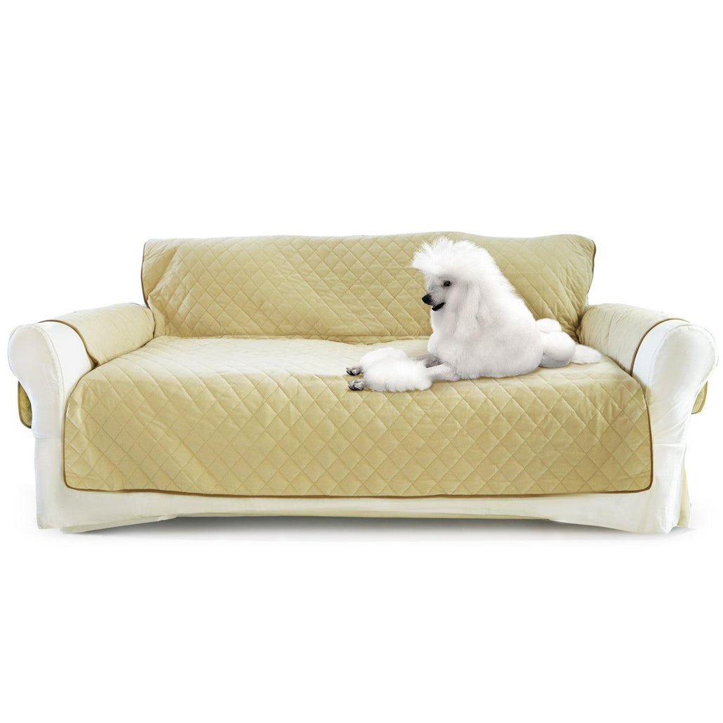 Luxury Sofa Cover for Dogs Cats 3 Seater Couch - Sand