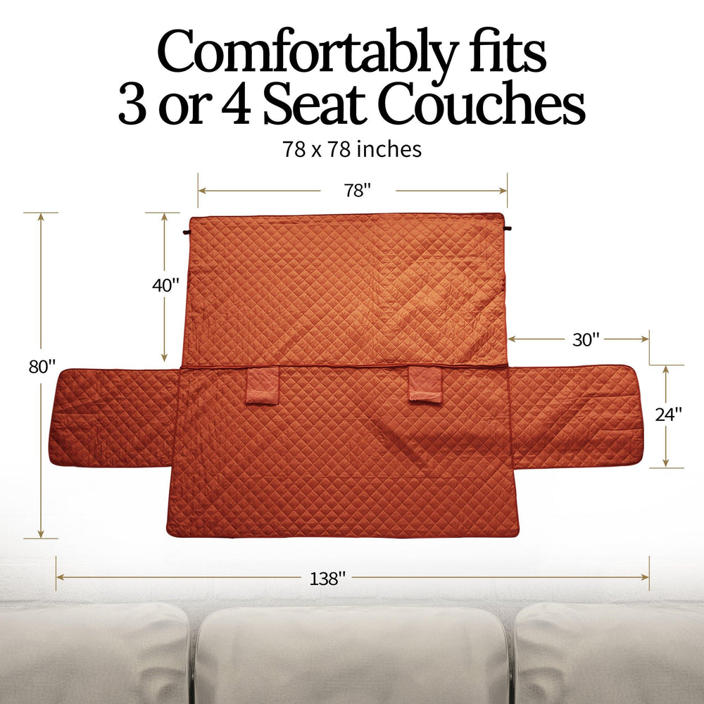 Luxury Sofa Cover for Dogs Cats 3 or 4 Seat Furniture Cover - Wine - Luxe Pets Products