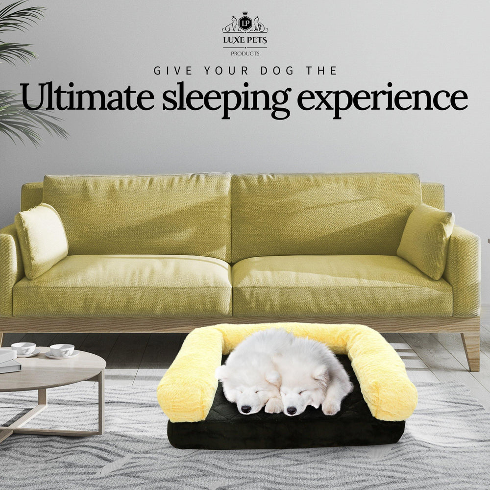 Load image into Gallery viewer, Pet Bed Memory Foam Luxurious Velvet, Faux Fur - Large, Black Gold - Luxe Pets Products