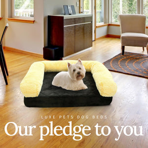 Load image into Gallery viewer, Pet Bed Memory Foam Luxurious Velvet, Faux Fur - Black Gold - Luxe Pets Products