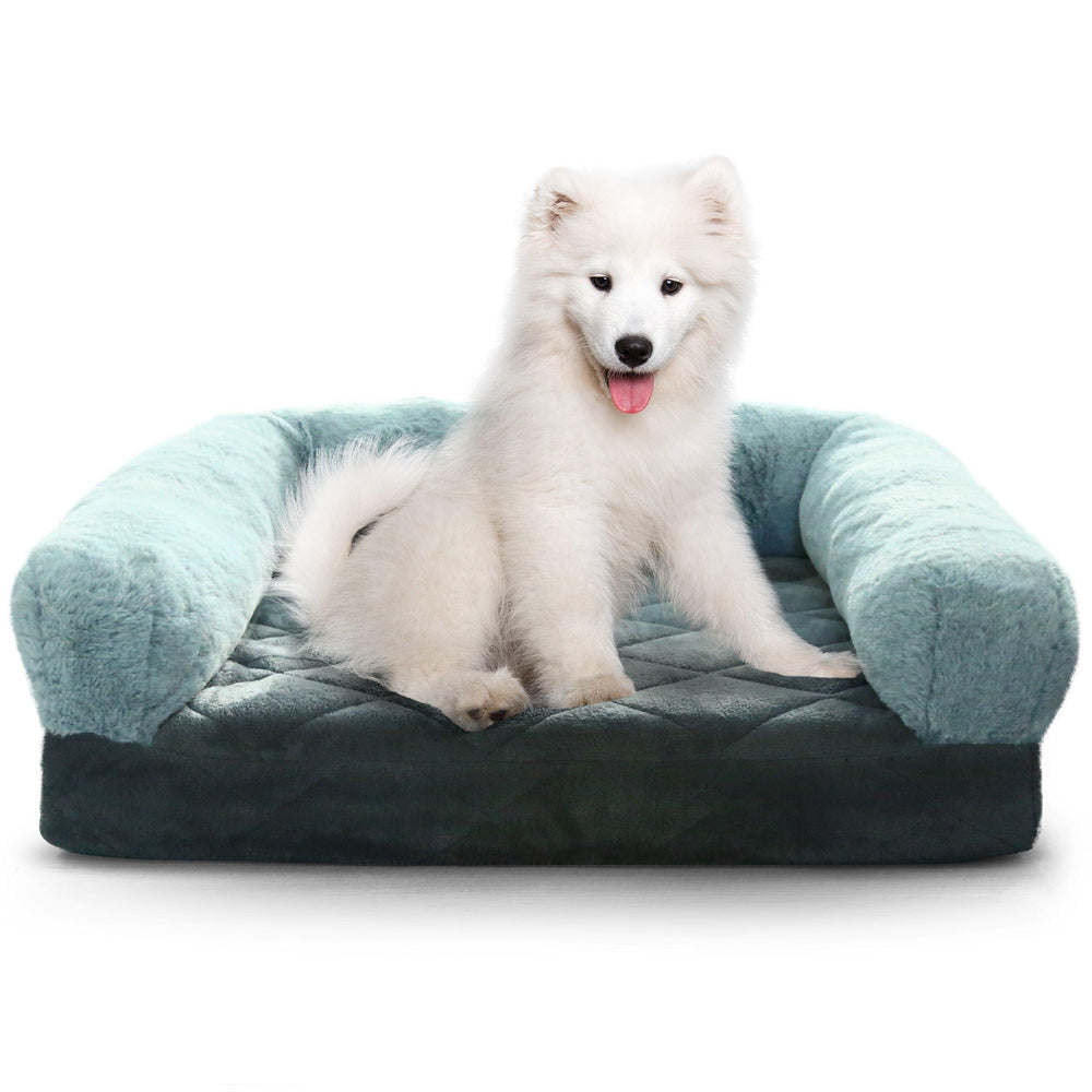 Pet Bed Memory Foam Luxurious Velvet, Faux Fur - Large, Modern Grey - Luxe Pets Products