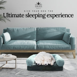 Load image into Gallery viewer, Pet Bed Memory Foam Luxurious Velvet, Faux Fur - Large, Modern Grey - Luxe Pets Products