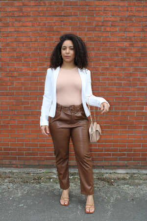 fake leather broek bruin