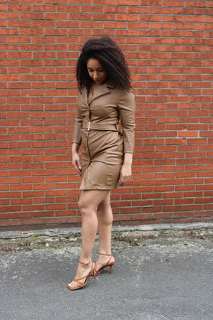 fake leather dress bruin kort