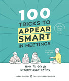 4 drawn characters at a meeting, book cover, blue background, white and black text
