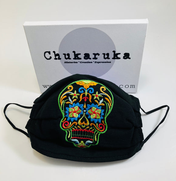 Embroidered day of the dead inspired masks
