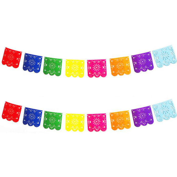Vibrant multicolored felt flags strung together.