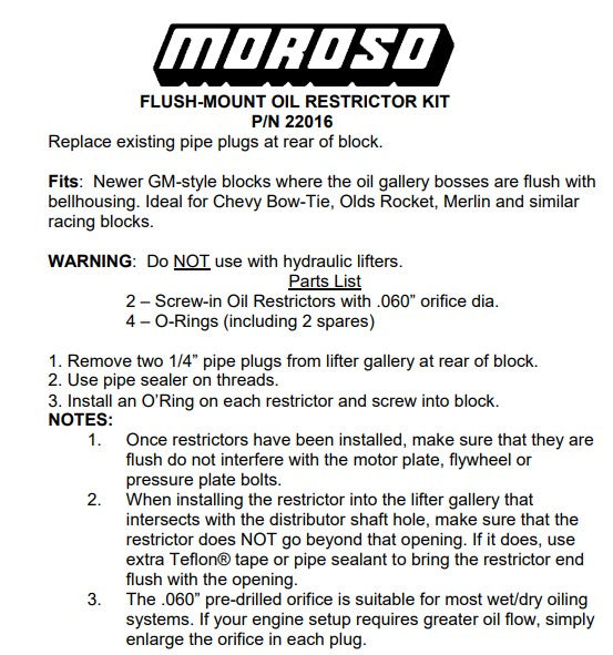 Moroso Oil Restrictors Flush mount Chev