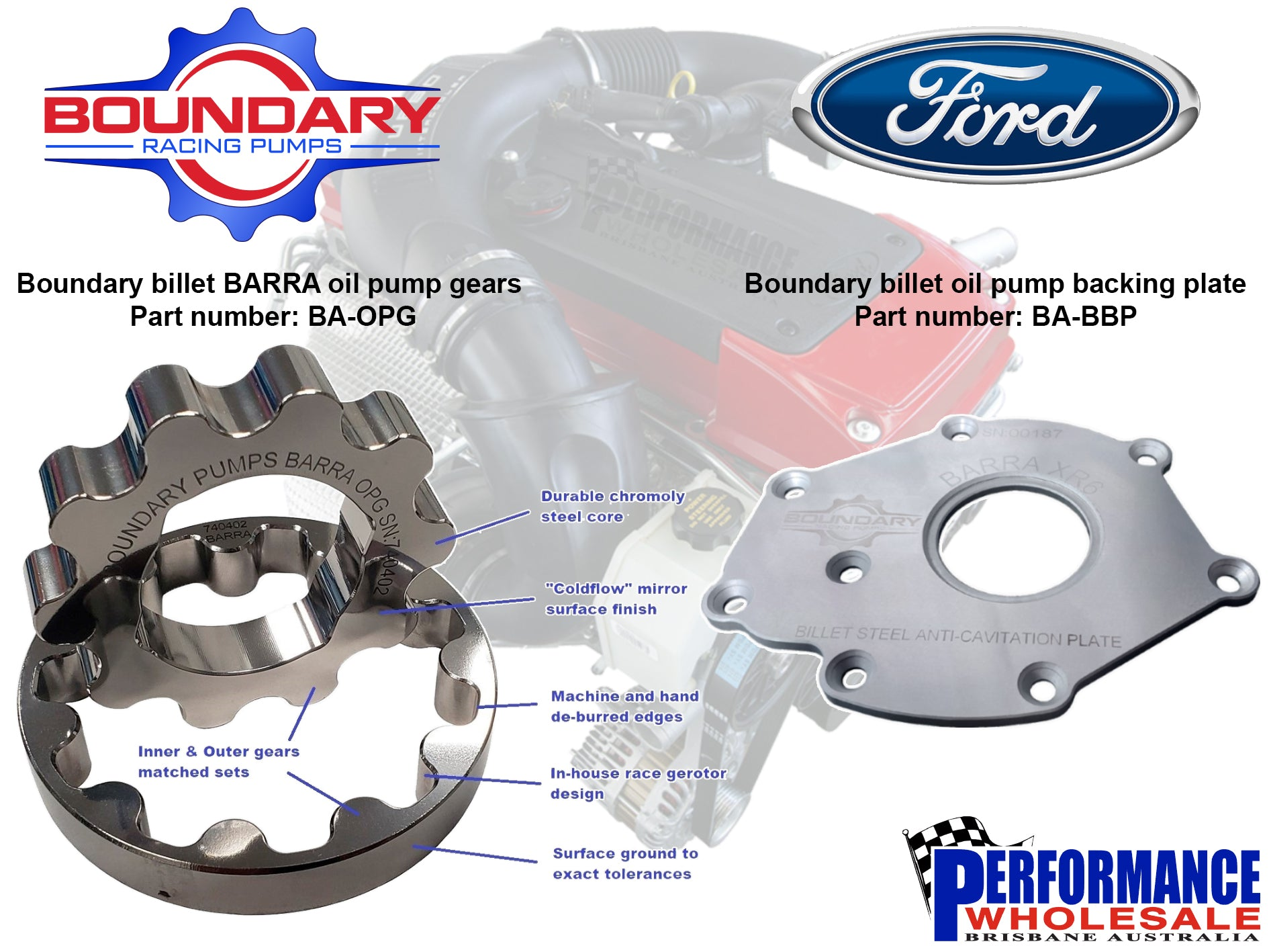 Boundary Barra oil pump gears and backing plate