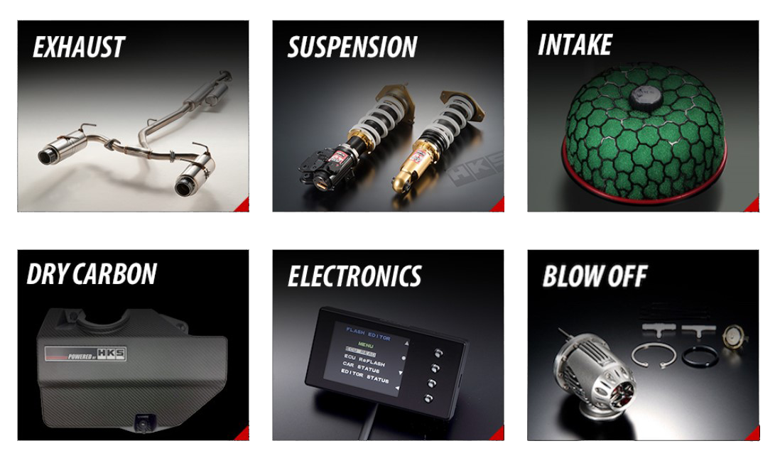 HKS Products ~ Exhaust, Suspension, Intake, Dry Carbon, Electronics, Blow Off