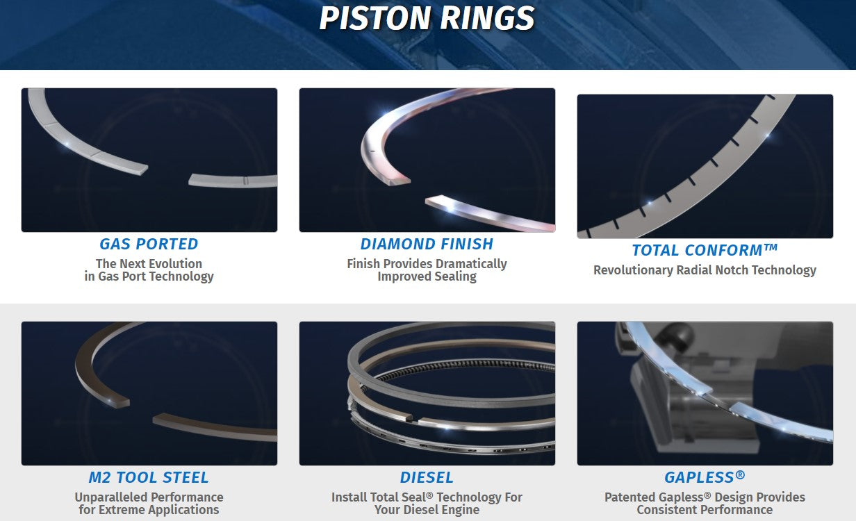 Total Seal Piston rings gas ported, diamond finish, total conform, m2 tool steel, diesel, gapless