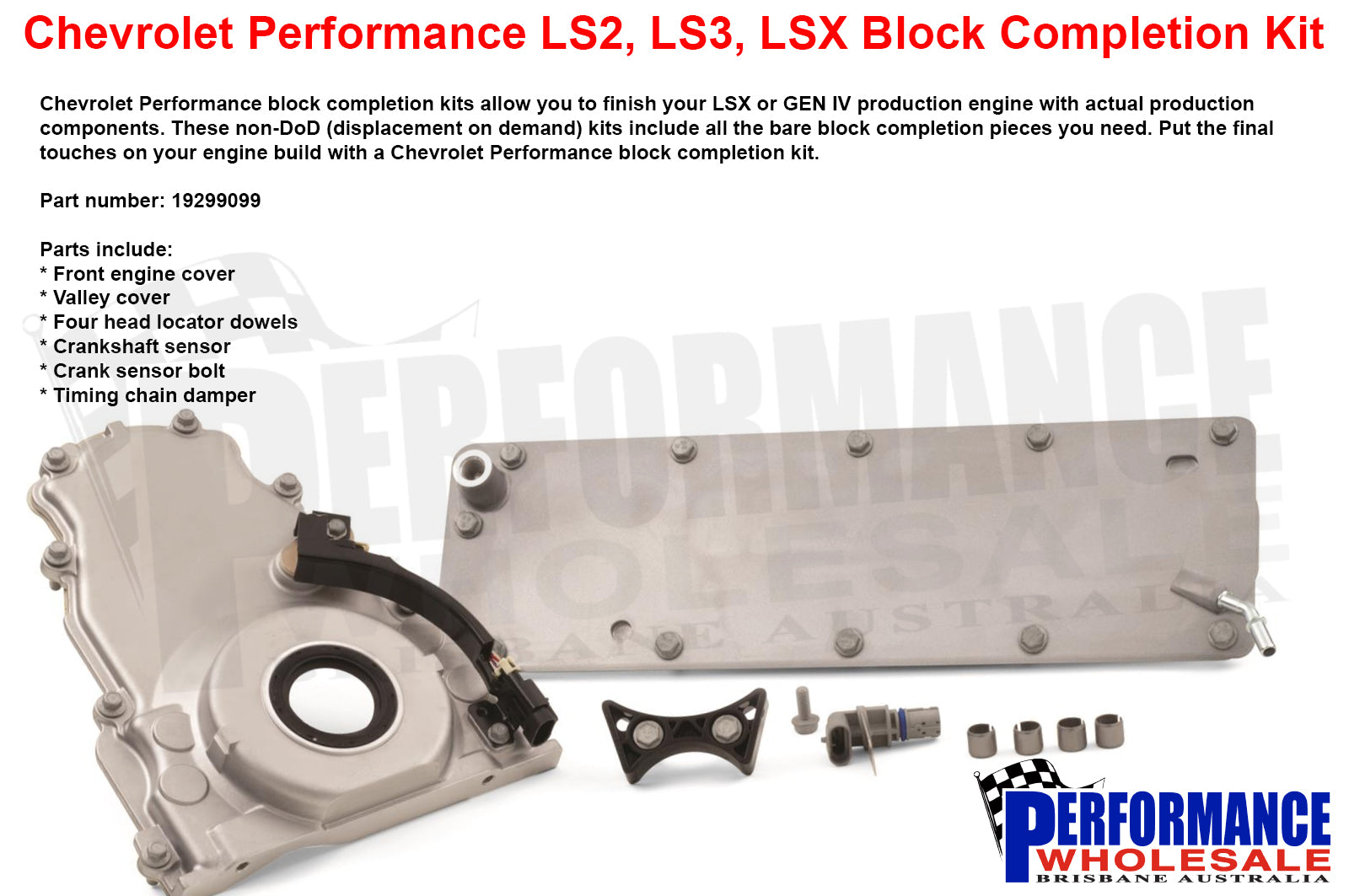 Chevrolet Performance LS & LSX Engine Block Front Completion Kit