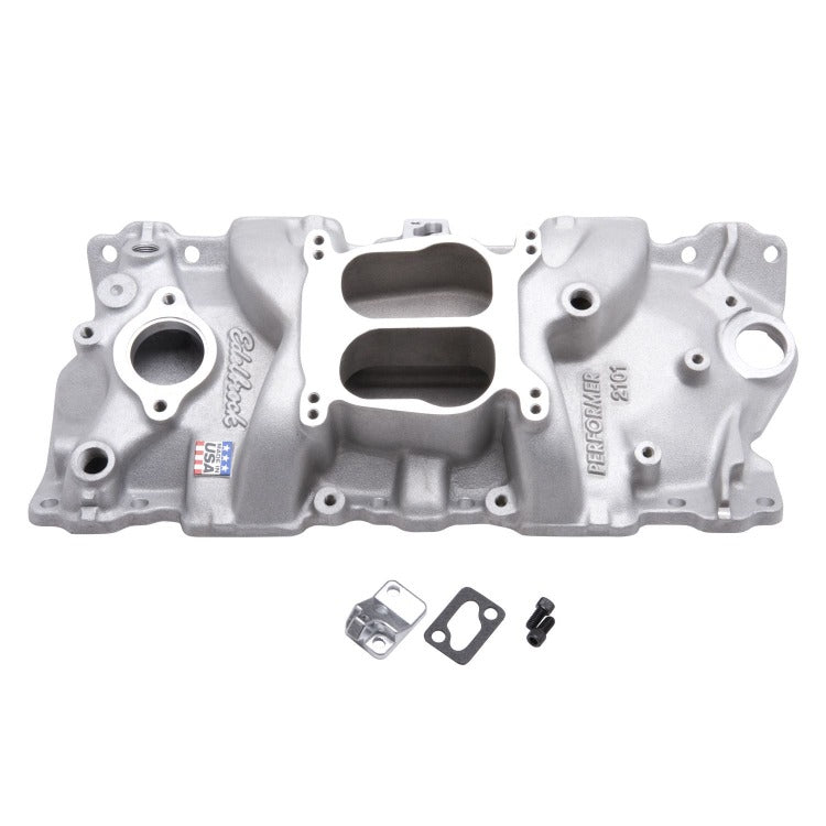 Edelbrock Performer Intake Manifold for 1955-86 Small-Block Chevy, Satin Finish