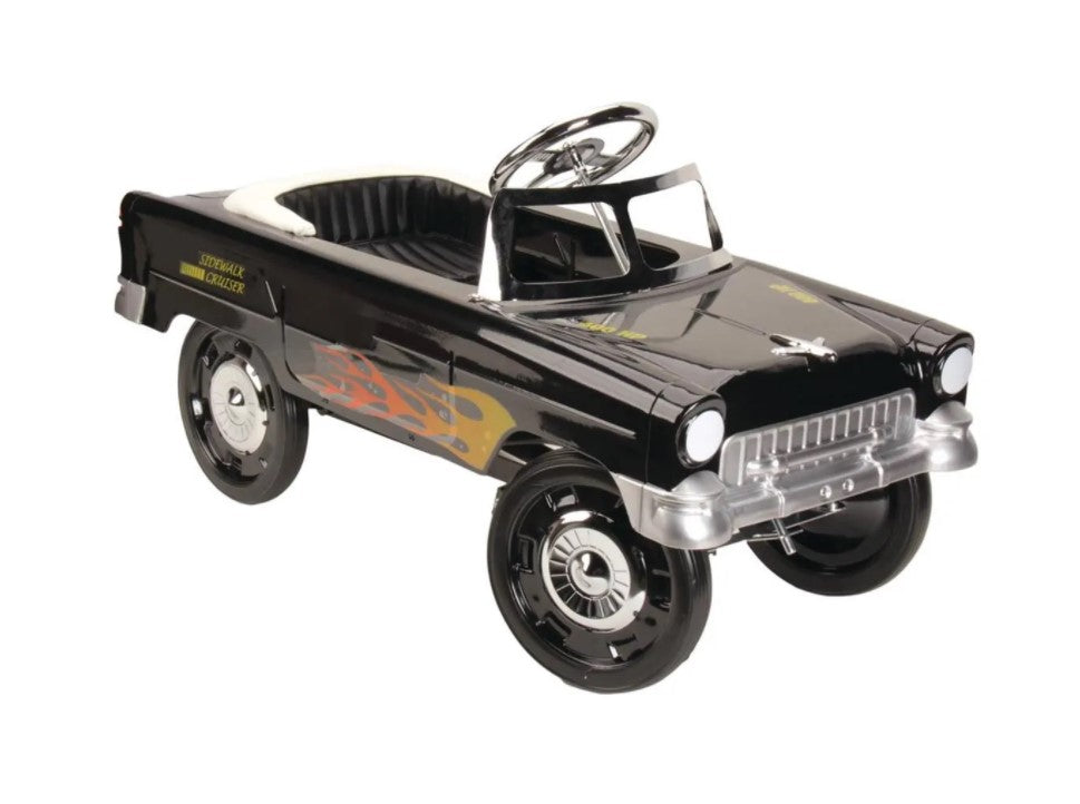 Blue Diamond Classics ~ Retro Tri-Five 1955 Chevy Steel Metal Pedal Car ~ Black With Flames