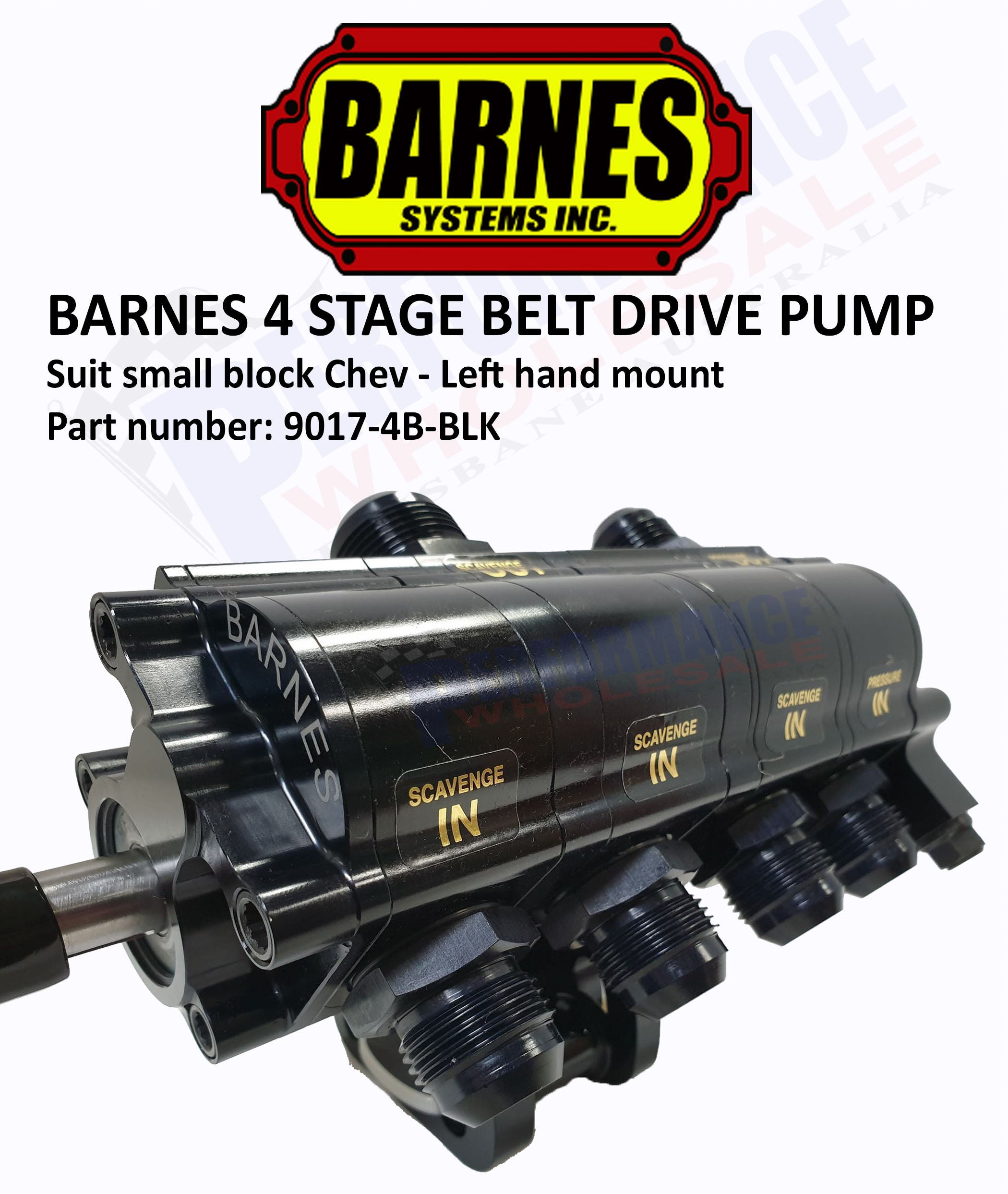 Barnes 4 Stage Belt Drive Dry Sump Pump, SB Chev LH Mount