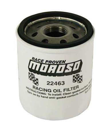 Moroso Racing Oil Filter, Ford 4.6/5.4, GM LS Series 2007 & up, 22 mm-1.5 thread, Short Design