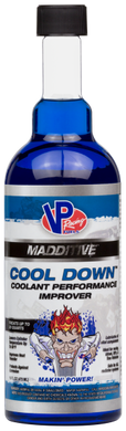 Cool Down improves the performance of your coolant and is safe for all radiator systems. Ideal for racing, street, RV and tow vehicle applications. It reduces cylinder head temperatures up to 50° F! Cool Down increases coolant flow for better heat transfer, lubricates all vital components and is approved by most race sanctioning bodies.   One 16 oz. bottle treats cooling systems of 12-20 quarts. For straight water applications, an additional 50% more Cool Down is recommended, while diesel applications requi