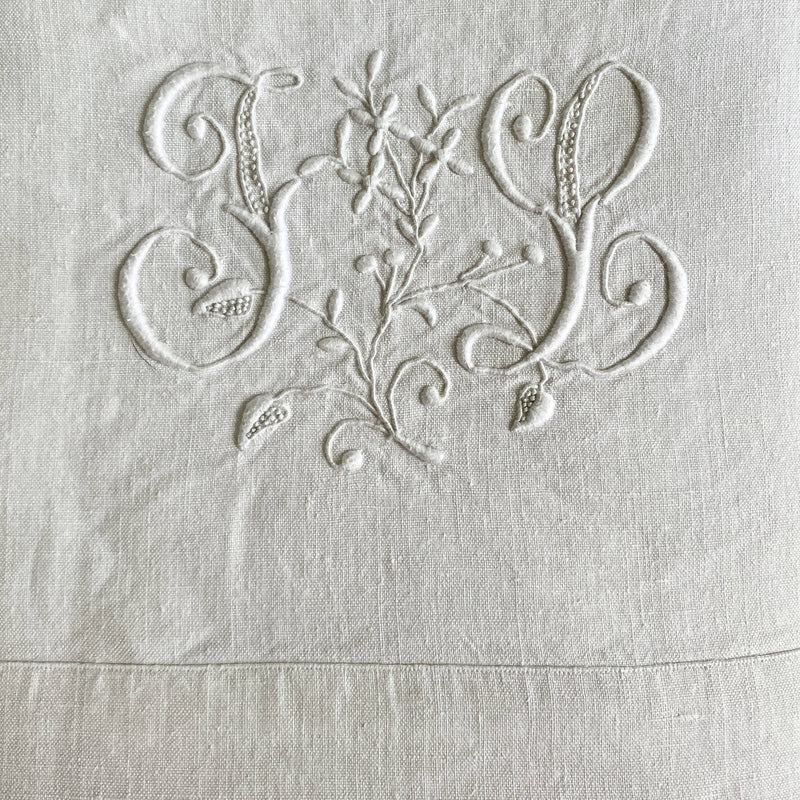 Antique French Cotton/Linen Bed Sheet