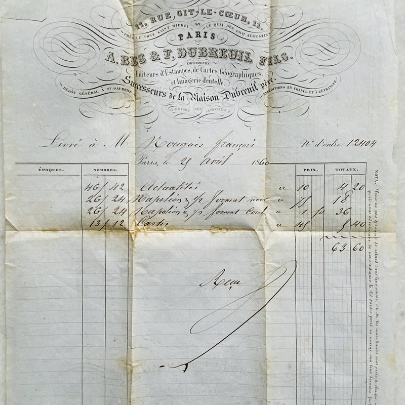 Antique Receipt from 1860