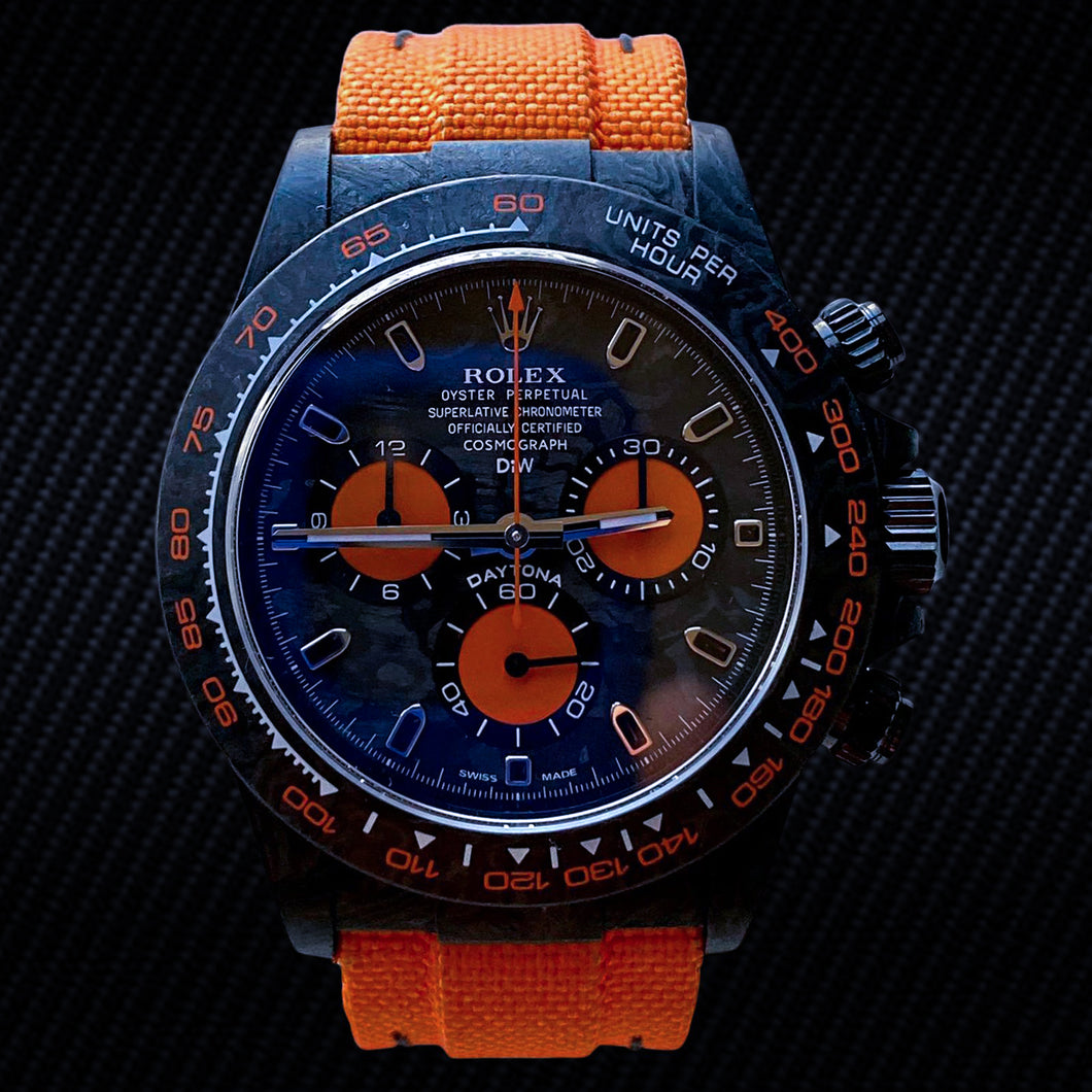 "Rolex DiW NTPT Carbon Daytona ""ALL CARBON ORANGE EDITION"