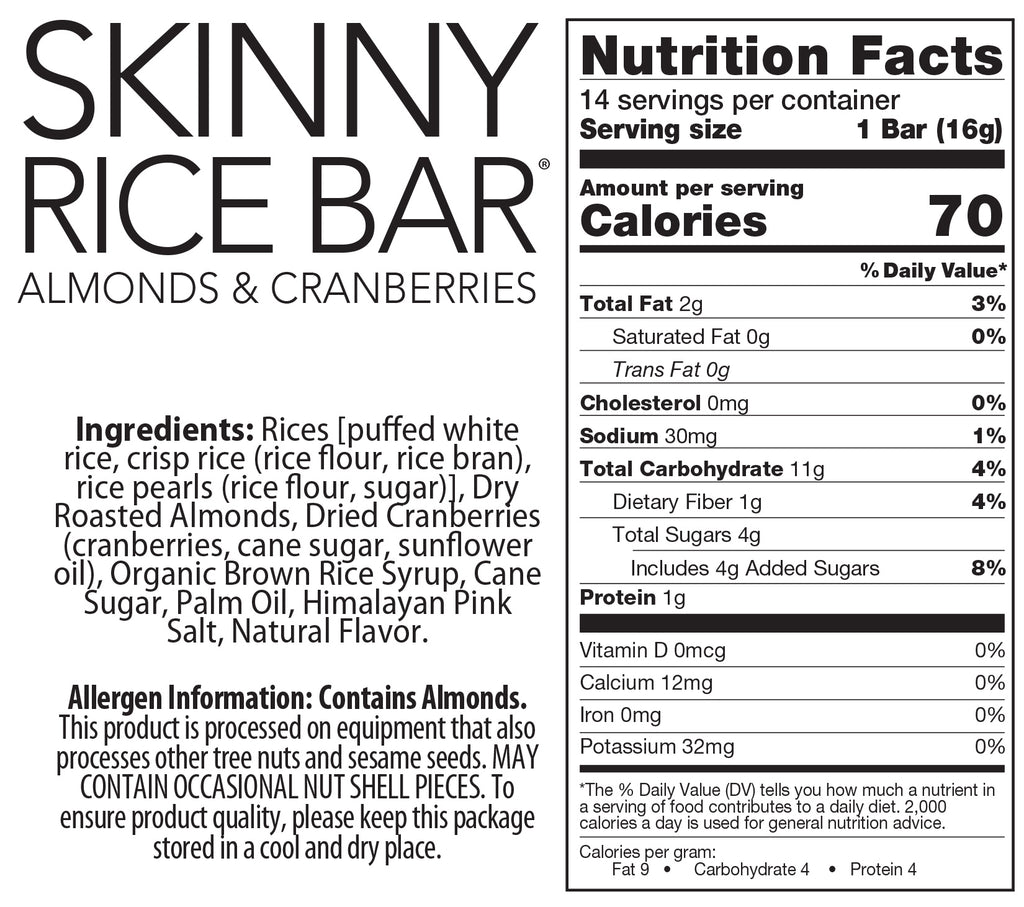 Skinny Rice Bar with Cranberries, Almonds, and Himalayan Salt (14 count)