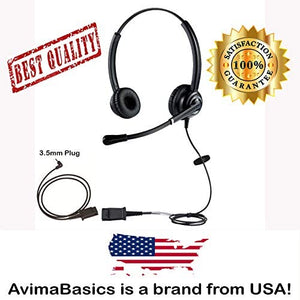Wired Cell Phone Headset by AvimaBasics | with Noise Canceling Mic and Adjustable Fit Headband for iPhone Samsung Huawei HTC LG ZTE BlackBerry Mobile Phone and Smartphones with 3.5mm Jack