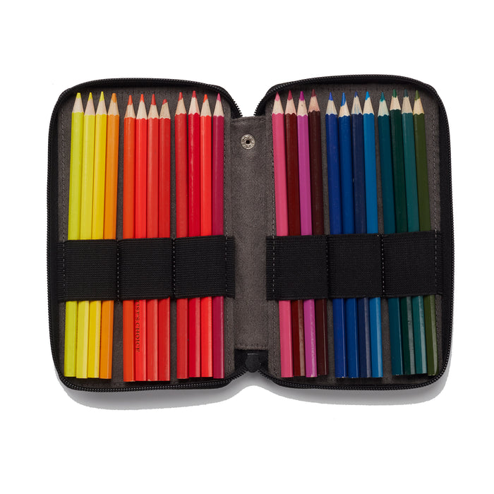 LEATHER PENCIL CASE BLACK 24PK