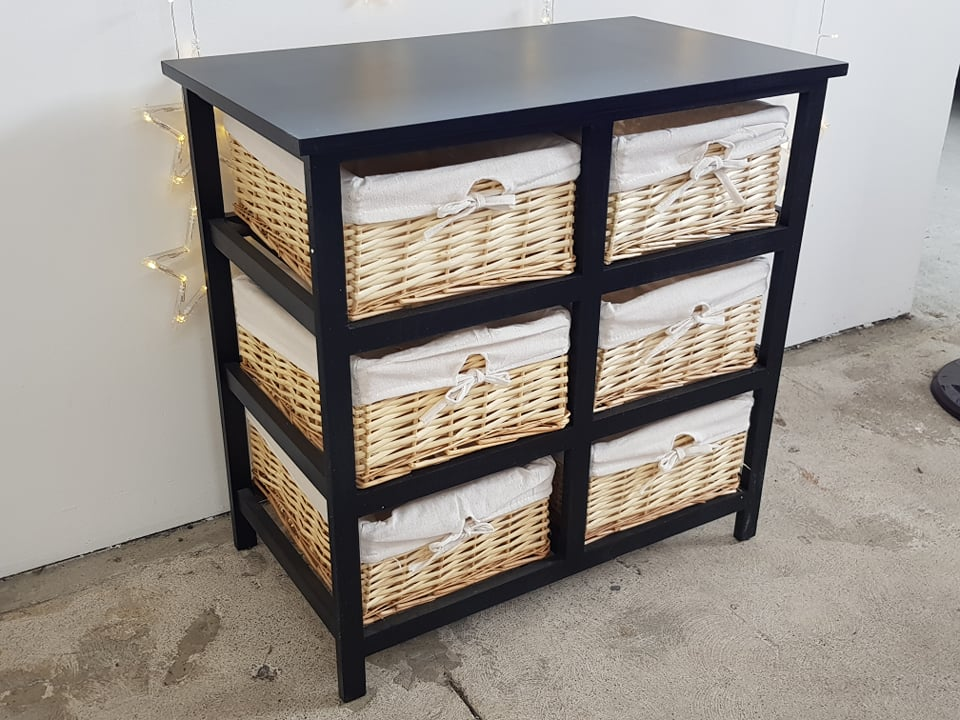 Wicker 6 drawer table
