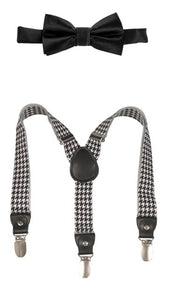 LB BLACK & WHITE HOUNDSTOOTH SUSPENDERS & BLACK BOW TIE SET