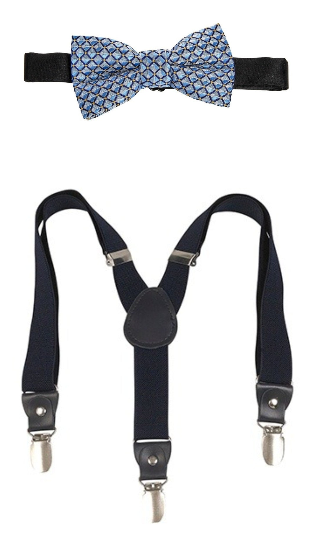 LB NAVY BLUE SUSPENDERS SET & LIGHT BLUE/NAVY BLUE DIAMOND BOW TIE SET
