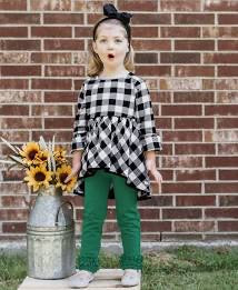 Ruffle Butts Black & White Plaid High Low Top
