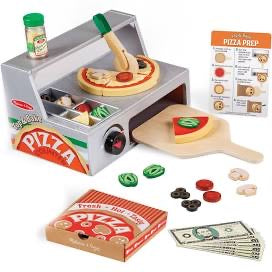 Melissa and Doug Top & Bake Pizza Counter - Wooden Play Food
