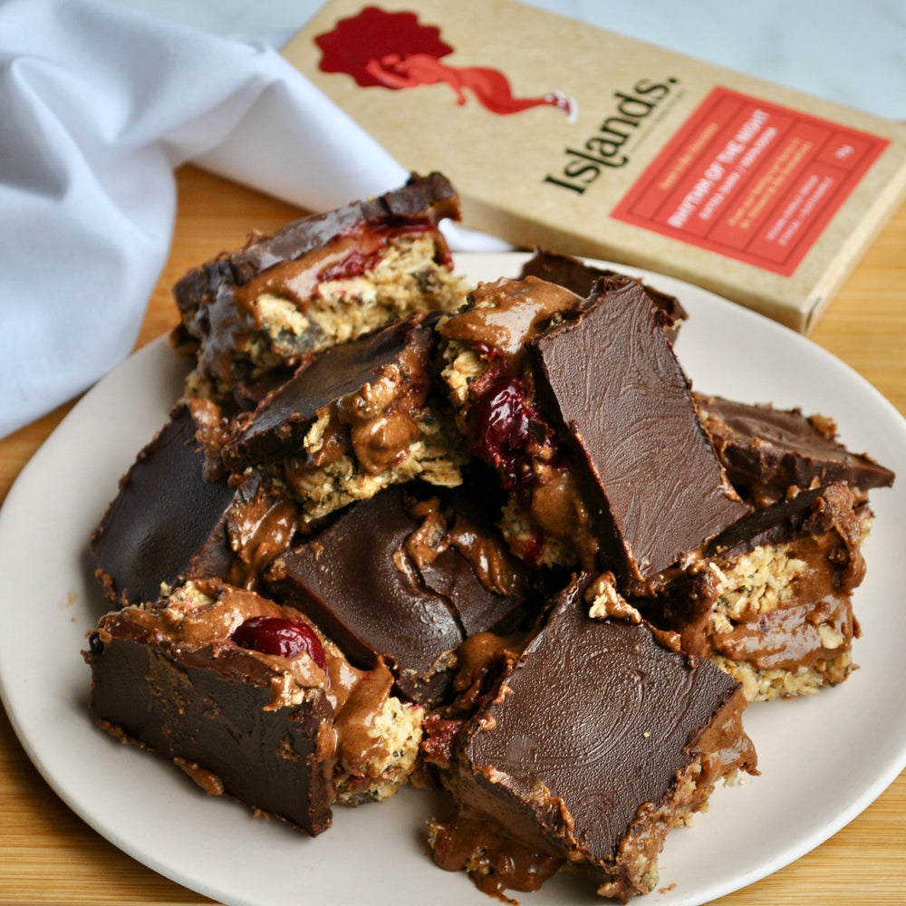 BLACK FOREST PEANUT BUTTER BARS WITH A CHOCOLATE CHERRY FILLING - ELI BRECHER