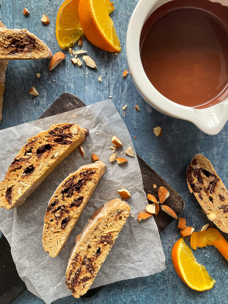 DARK CHOCOLATE, ORANGE & ALMOND BISCOTTI - LILY WEST