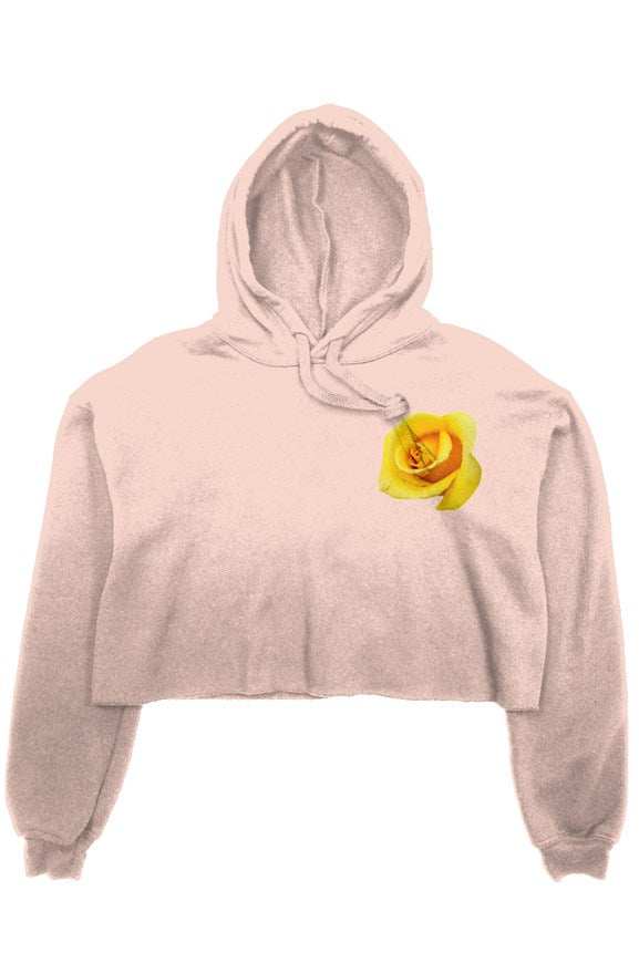 Golden Rose Crop Fleece Hoodie