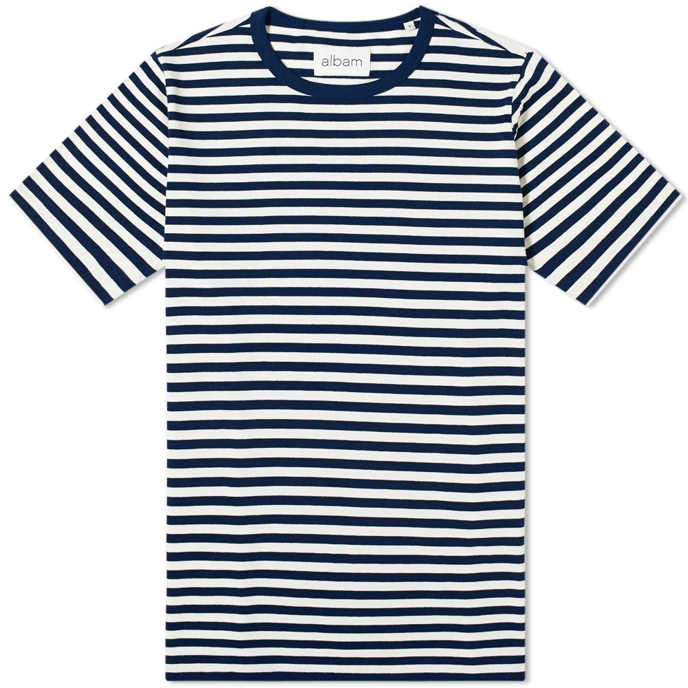 Albam Fletcher Stripe T-Shirt Navy / Ecru