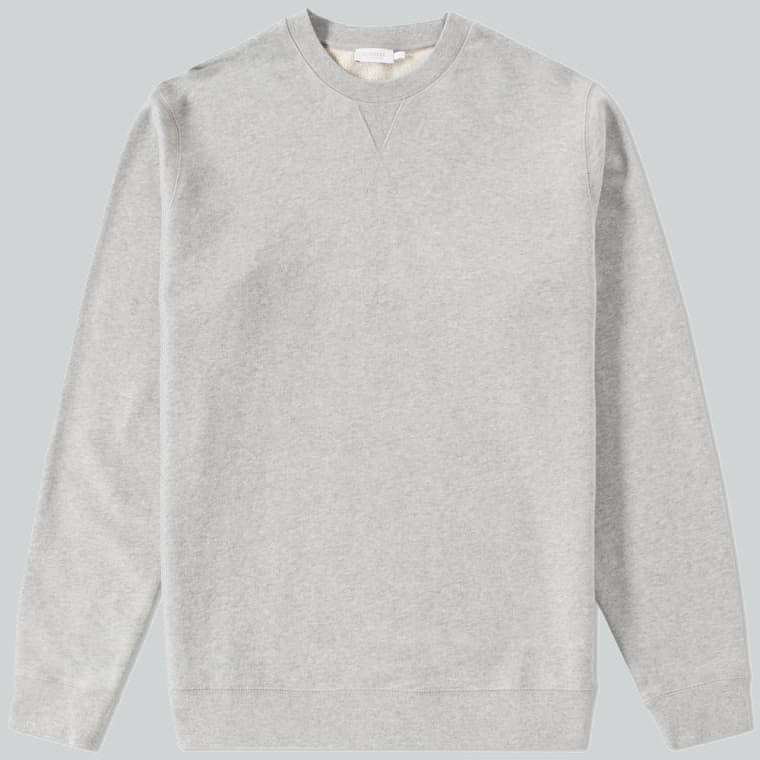 Sunspel Loopback Sweatshirt Grey Melange
