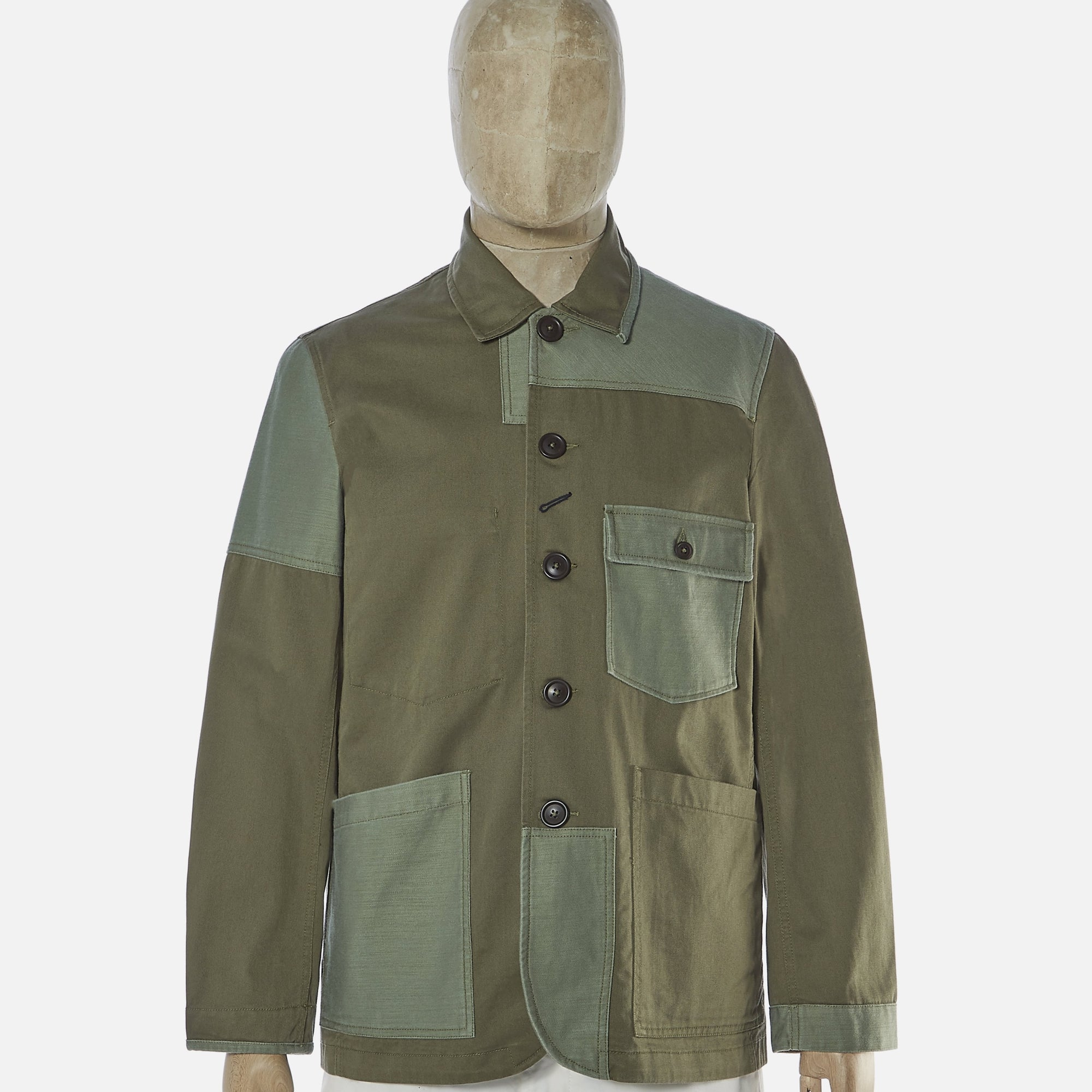 Universal Works Patched Mill Bakers Jacket Light Olive