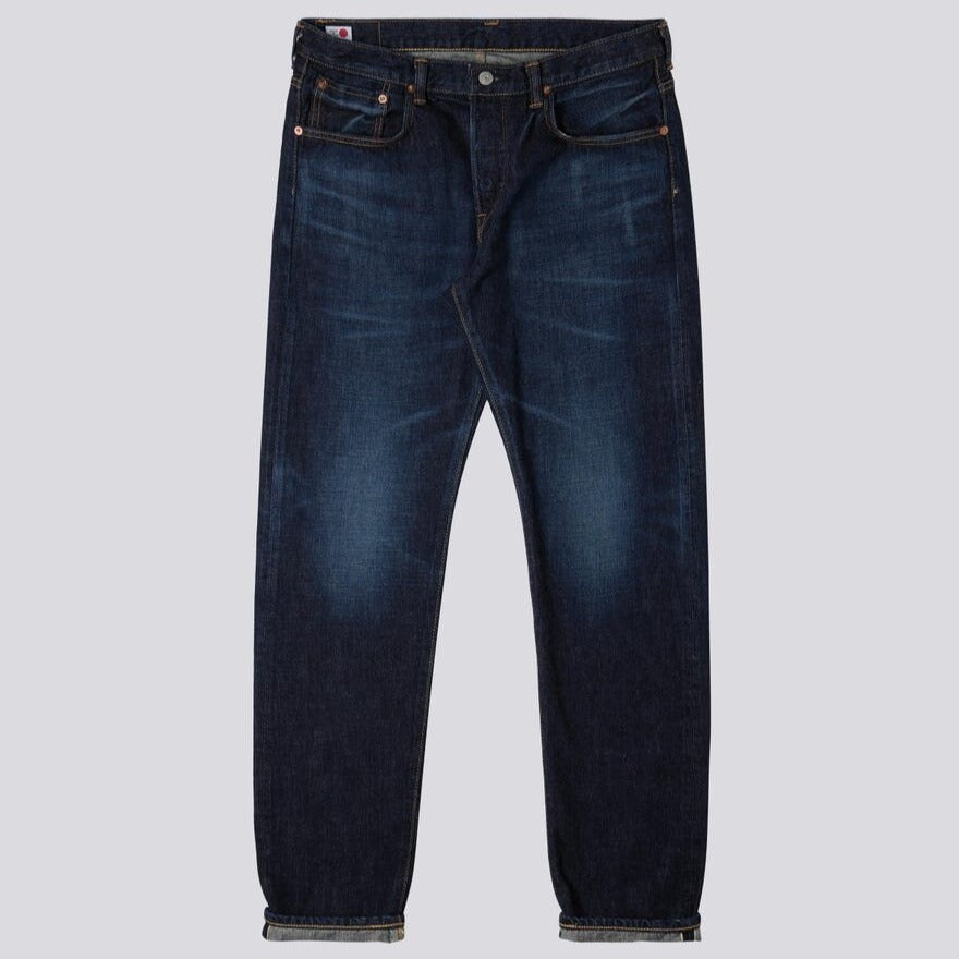 Edwin Regular Tapered Jeans Nihon Menpu Indigo Denim Dark Used