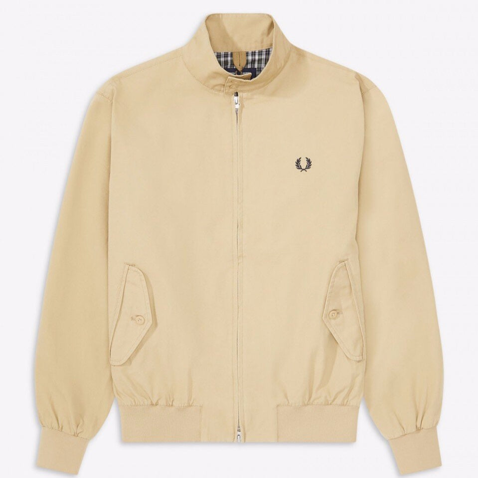 Fred Perry Check Lined Harrington Jacket Dark Stone