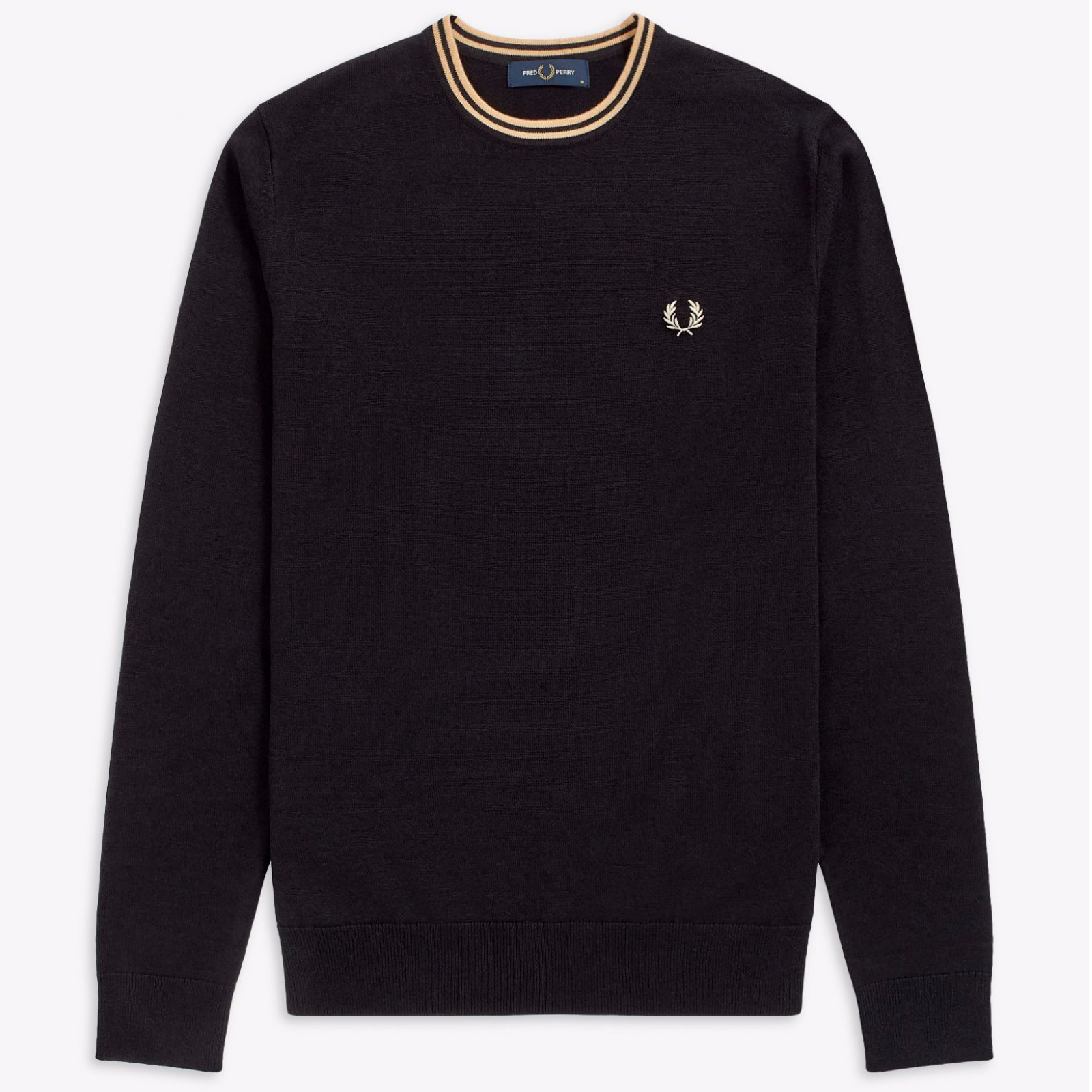 Fred Perry Classic Crew Neck Jumper Black / Champagne
