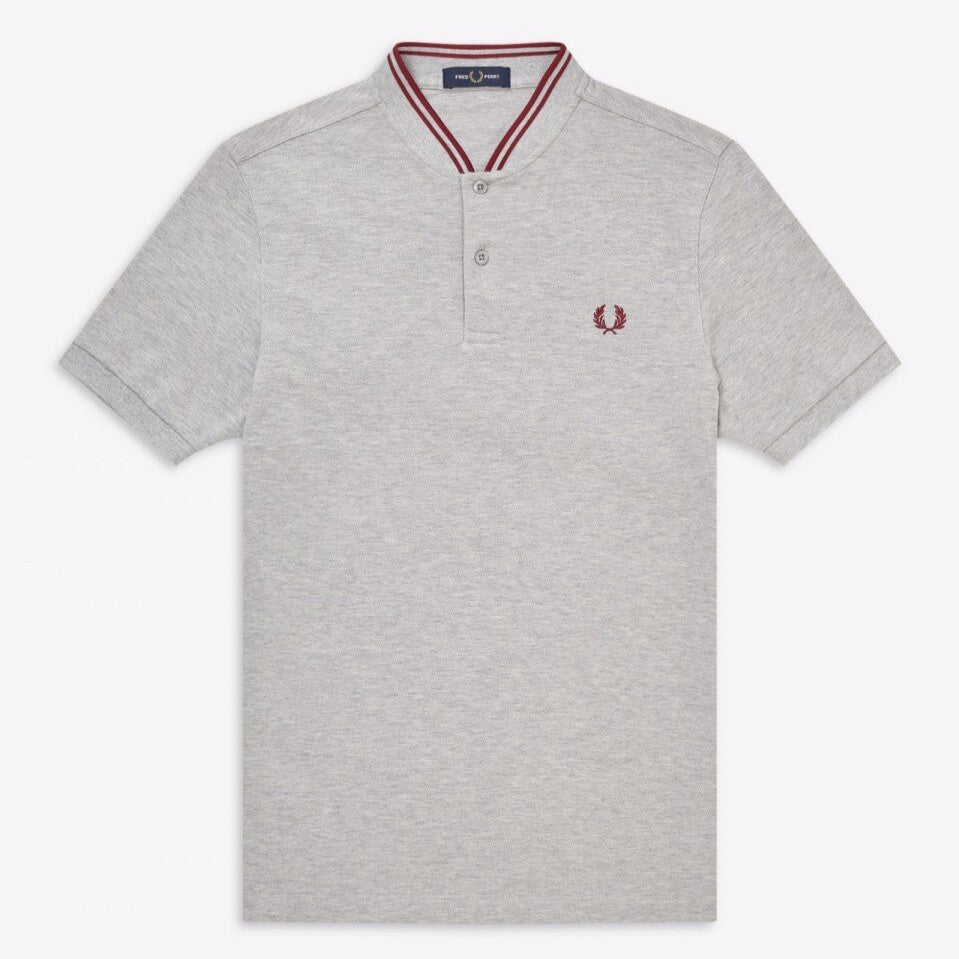 Fred Perry Bomber Pique Shirt Grey Marl