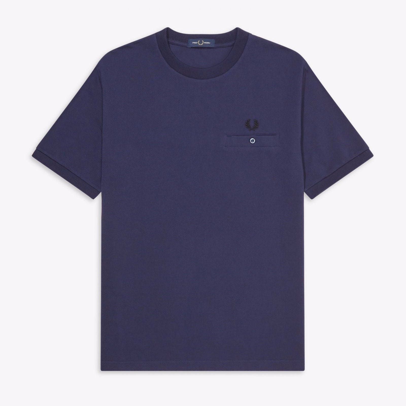 Fred Perry Pocket Detail Pique T-Shirt Carbon Blue