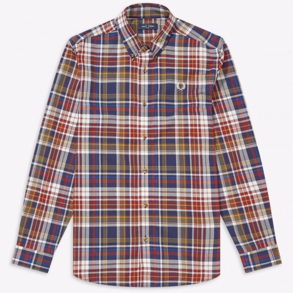 Fred Perry Tartan Shirt Navy