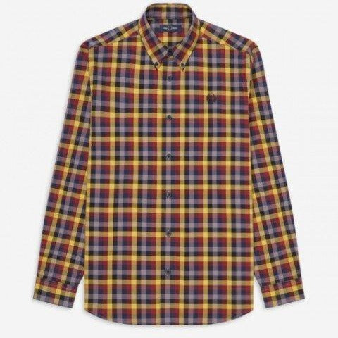 Fred Perry 5 Colour Gingham Shirt Gold
