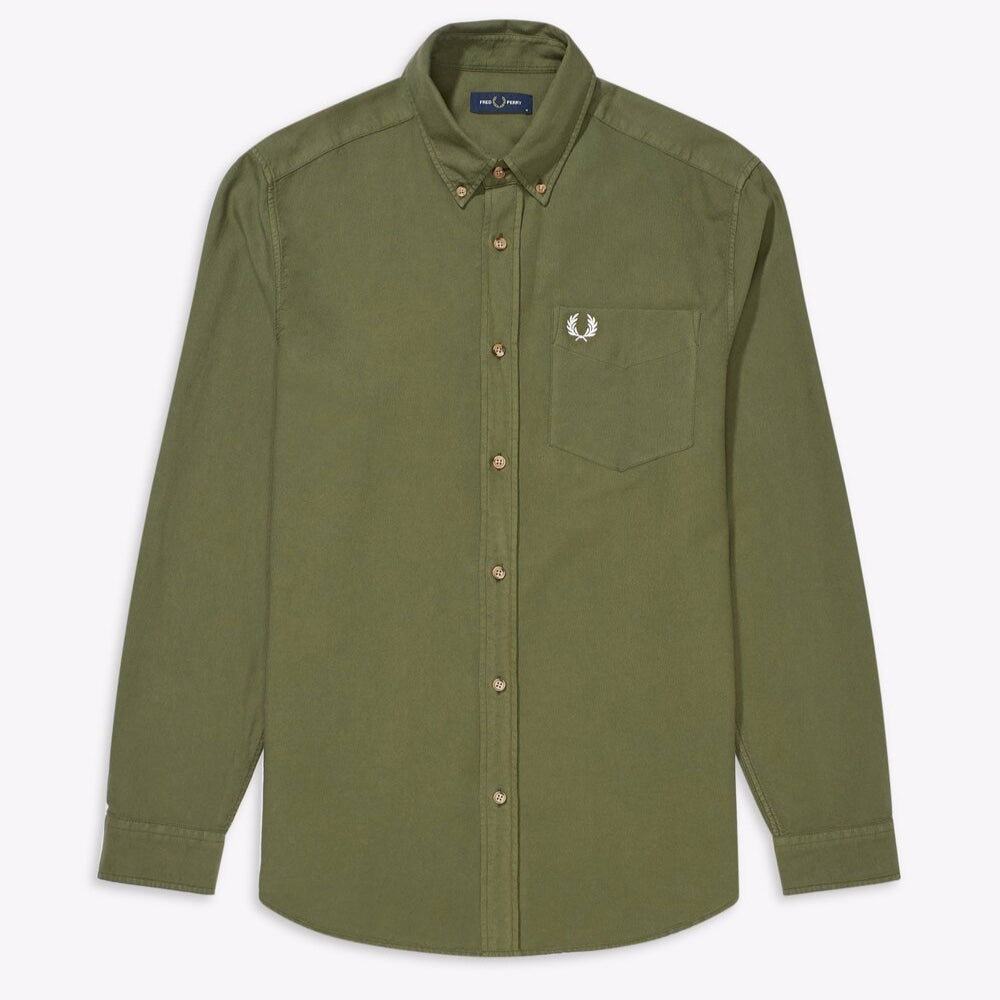 Fred Perry Overdyed Shirt Military Green