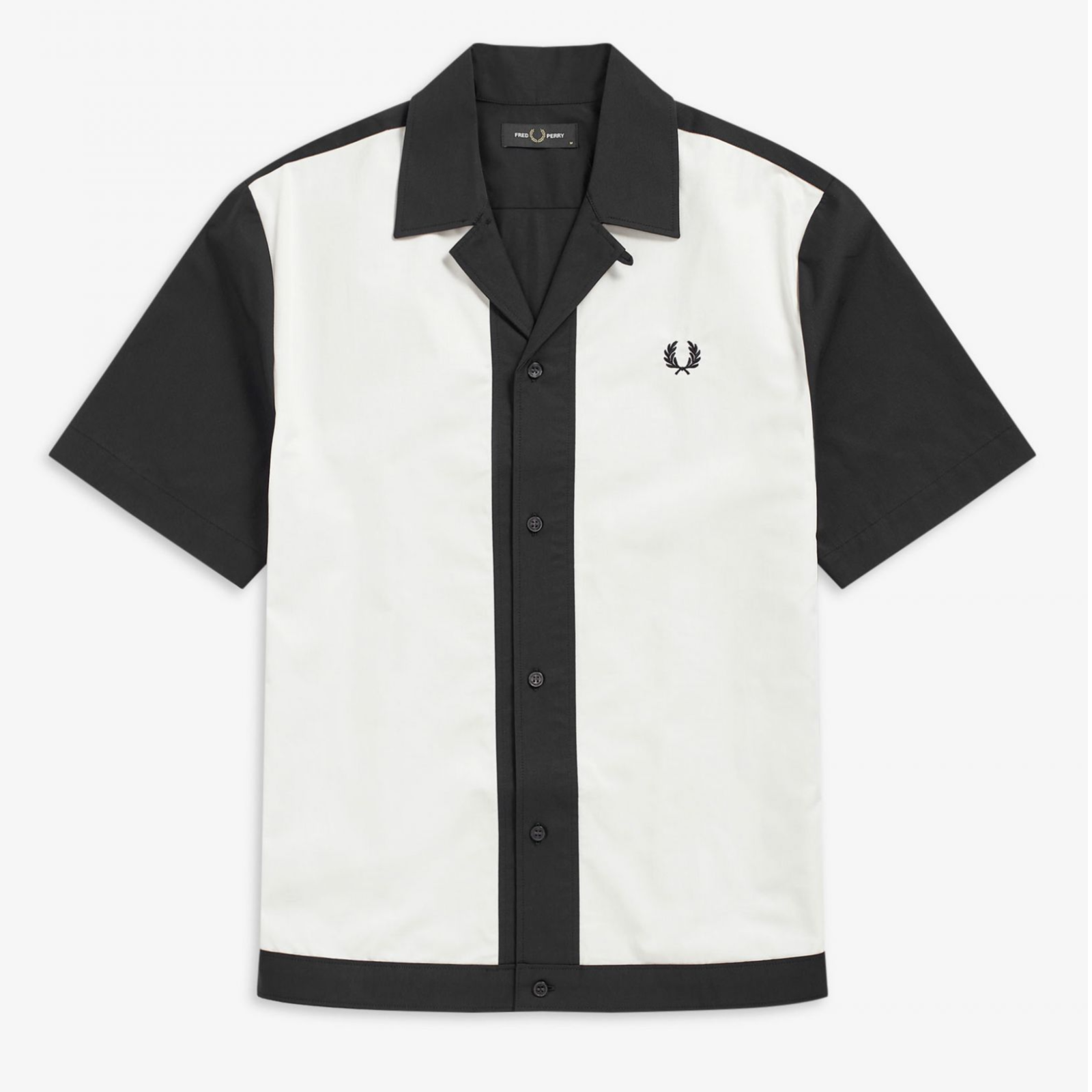 Fred Perry Panneled Bowling Shirt Navy