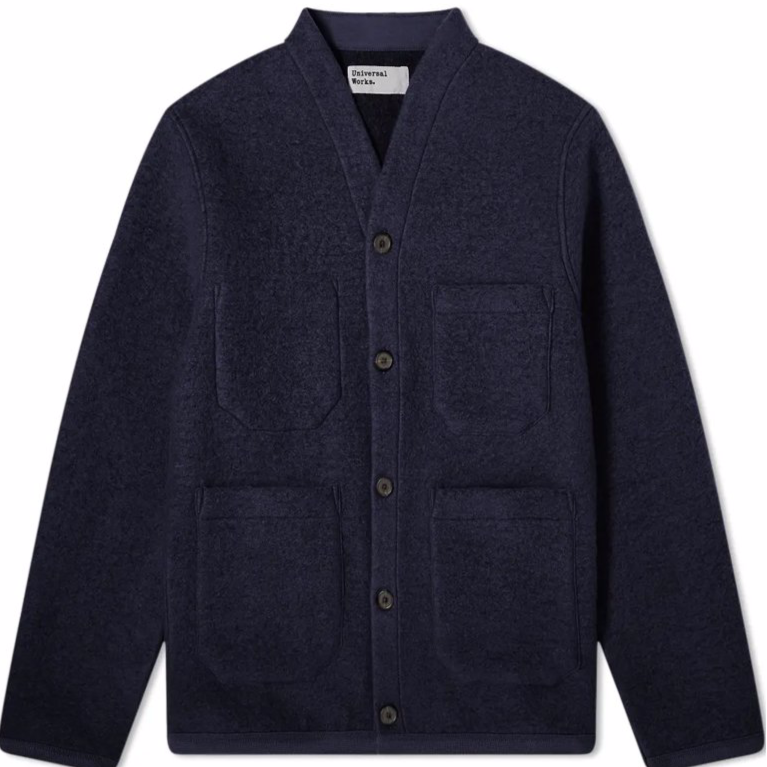 Universal Works Wool Cardigan Navy